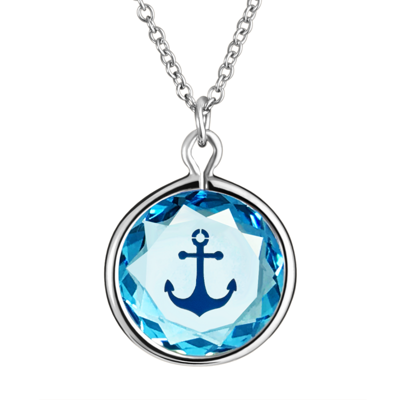 Anchor Pendant  in Blue Swarovski Crystal with Dark Blue Engraving in Sterling Silver
