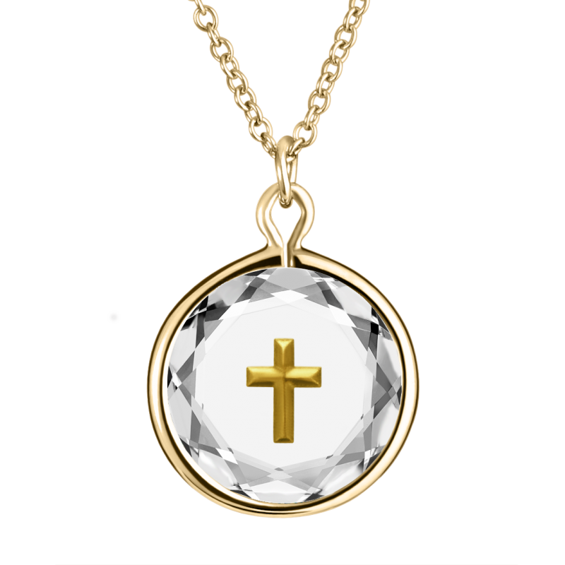 Cross Pendant White Swarovski Crystal With Gold Enamel in Gold Plated Silver