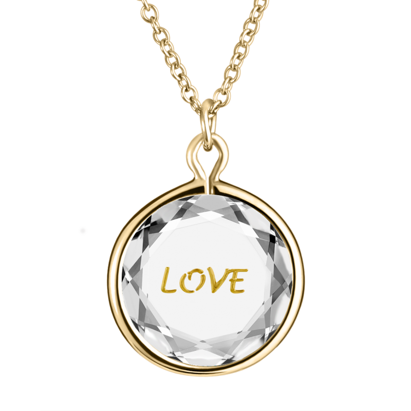 Love Pendant  in White Swarovski Crystal with Gold Engraving in Yellow Gold-Plated Silver