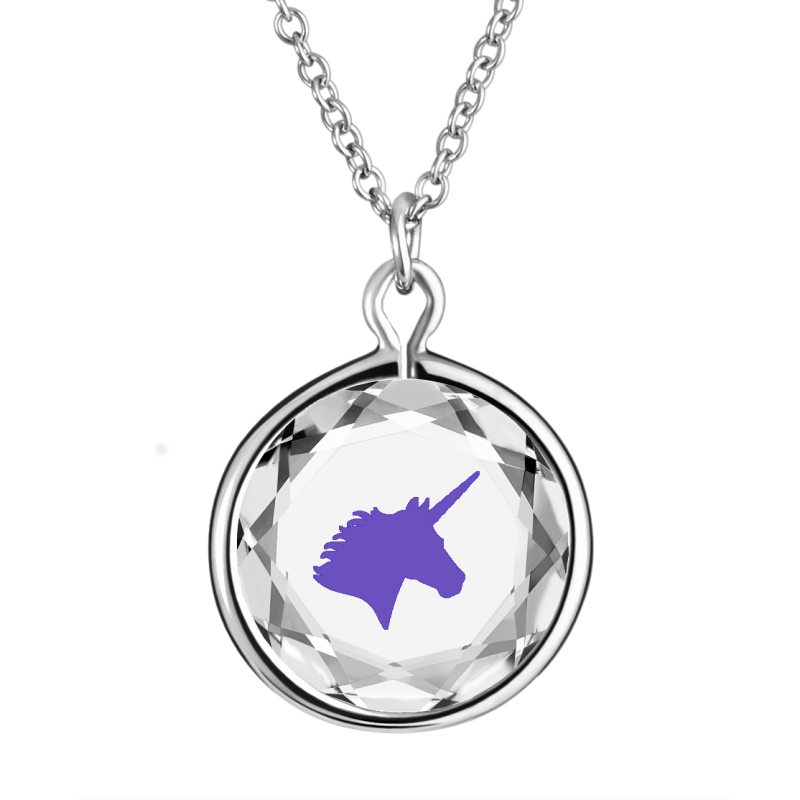 Unicorn Engraved in White Swarovski Crystal with Purple Enamel  in Sterling Silver Necklace