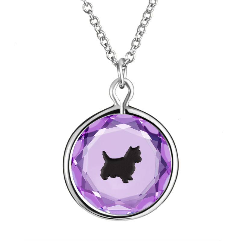 Yorkie in Purple Crystal and Black Enameled Engraving in Sterling Silver
