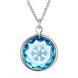 Snow Flake in Swarovski Blue Crystal with Silver Enamel in Sterling Silver