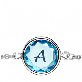 Initials Bracelet: A in Blue Crystal & Dark Blue Enameled Engraving