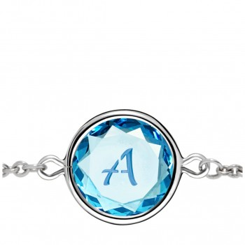 Initials Bracelet: A in Blue Crystal & Medium Blue Enameled Engraving