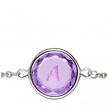 Initials Bracelet: A in Purple Crystal & Pink Enameled Engraving
