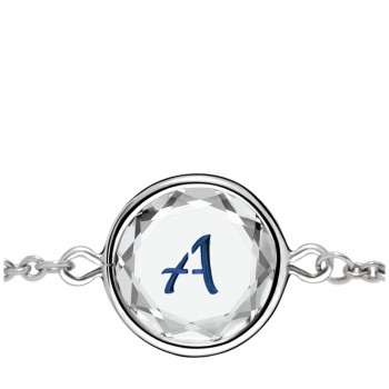 Initials Bracelet: A in White Crystal & Dark Blue Enameled Engraving