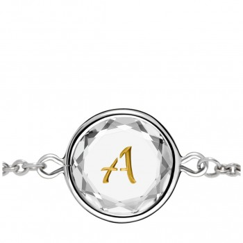 Initials Bracelet: A in White Crystal & Gold Enameled Engraving