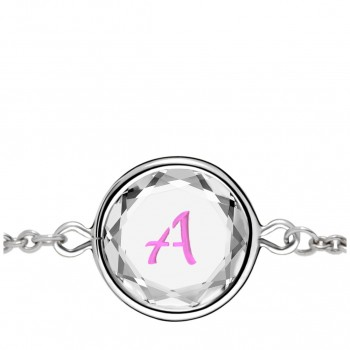 Initials Bracelet: A in White Crystal & Pink Enameled Engraving