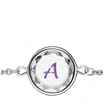Initials Bracelet: A in White Crystal & Purple Enameled Engraving
