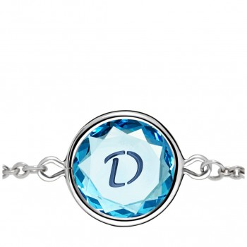 Initials Bracelet: D in Blue Crystal & Dark Blue Enameled Engraving