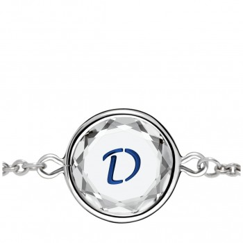 Initials Bracelet: D in White Crystal & Dark Blue Enameled Engraving