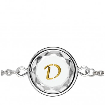 Initials Bracelet: D in White Crystal & Gold Enameled Engraving