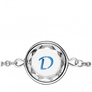 Initials Bracelet: D in White Crystal & Medium Blue Enameled Engraving