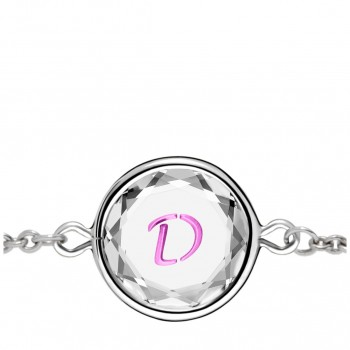 Initials Bracelet: D in White Crystal & Pink Enameled Engraving