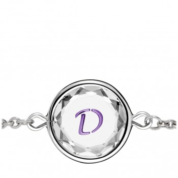 Initials Bracelet: D in White Crystal & Purple Enameled Engraving
