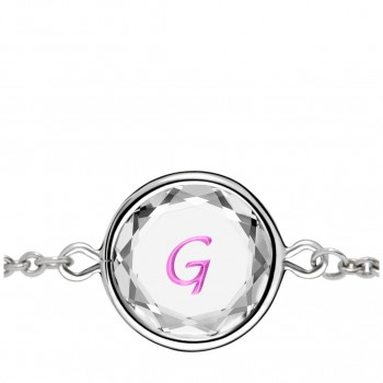 Initials Bracelet: G in White Crystal & Pink Enameled Engraving