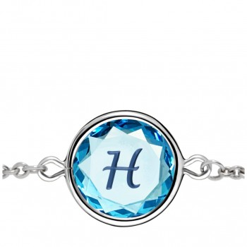 Initials Bracelet: H in Blue Crystal & Dark Blue Enameled Engraving