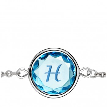 Initials Bracelet: H in Blue Crystal & Medium Blue Enameled Engraving