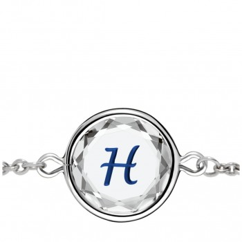 Initials Bracelet: H in White Crystal & Dark Blue Enameled Engraving