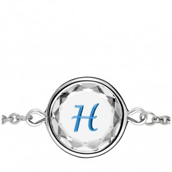 Initials Bracelet: H in White Crystal & Medium Blue Enameled Engraving