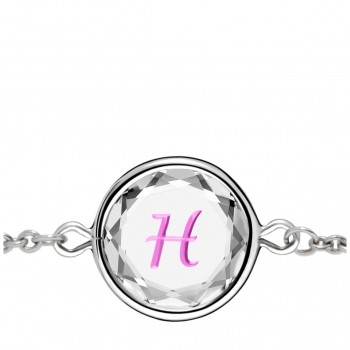 Initials Bracelet: H in White Crystal & Pink Enameled Engraving