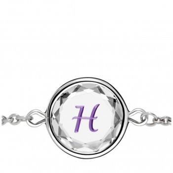 Initials Bracelet: H in White Crystal & Purple Enameled Engraving