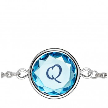 Initials Bracelet: Q in Blue Crystal & Dark Blue Enameled Engraving