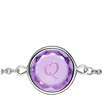 Initials Bracelet: Q in Purple Crystal & Pink Enameled Engraving