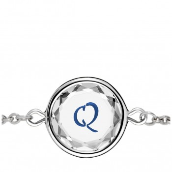 Initials Bracelet: Q in White Crystal & Dark Blue Enameled Engraving