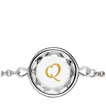 Initials Bracelet: Q in White Crystal & Gold Enameled Engraving
