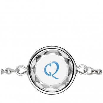 Initials Bracelet: Q in White Crystal & Medium Blue Enameled Engraving