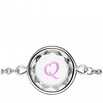 Initials Bracelet: Q in White Crystal & Pink Enameled Engraving
