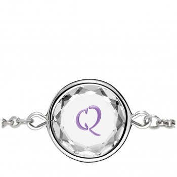 Initials Bracelet: Q in White Crystal & Purple Enameled Engraving