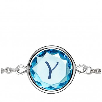 Initials Bracelet: Y in Blue Crystal & Dark Blue Enameled Engraving