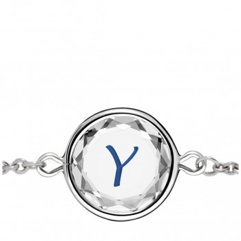 Initials Bracelet: Y in White Crystal & Dark Blue Enameled Engraving