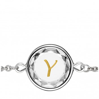 Initials Bracelet: Y in White Crystal & Gold Enameled Engraving