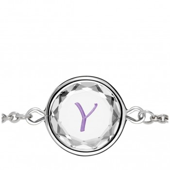 Initials Bracelet: Y in White Crystal & Purple Enameled Engraving