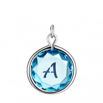 Initials Charm: A in Blue Crystal & Dark Blue Enameled Engraving