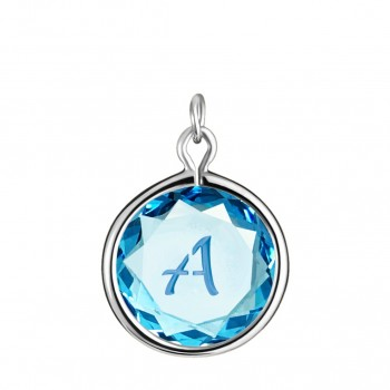 Initials Charm: A in Blue Crystal & Medium Blue Enameled Engraving