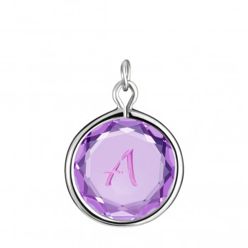 Initials Charm: A in Purple Crystal & Pink Enameled Engraving