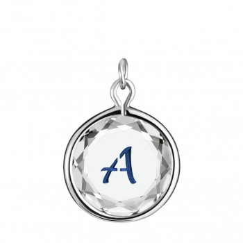 Initials Charm: A in White Crystal & Dark Blue Enameled Engraving