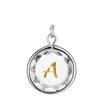 Initials Charm: A in White Crystal & Gold Enameled Engraving