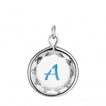 Initials Charm: A in White Crystal & Medium Blue Enameled Engraving