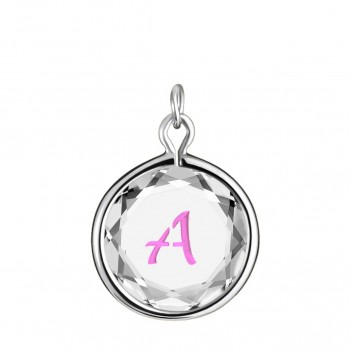 Initials Charm: A in White Crystal & Pink Enameled Engraving