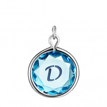 Initials Charm: D in Blue Crystal & Dark Blue Enameled Engraving