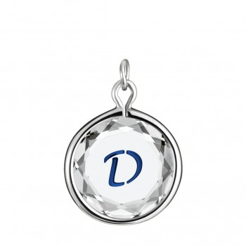 Initials Charm: D in White Crystal & Dark Blue Enameled Engraving