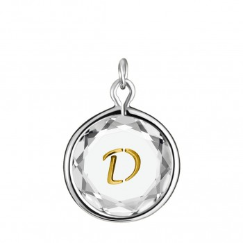 Initials Charm: D in White Crystal & Gold Enameled Engraving