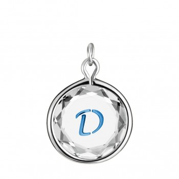 Initials Charm: D in White Crystal & Medium Blue Enameled Engraving