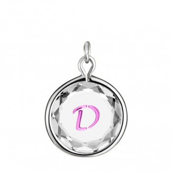 Initials Charm: D in White Crystal & Pink Enameled Engraving