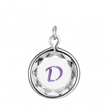 Initials Charm: D in White Crystal & Purple Enameled Engraving